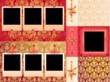 欧式花纹丝带相片矢量素材图片