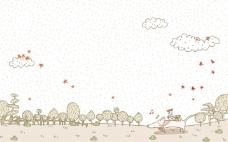 小狗带小鸡去旅游手绘淡彩风格插画