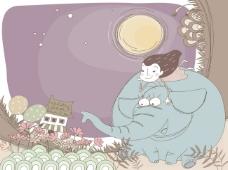 女孩晚上骑大象看花