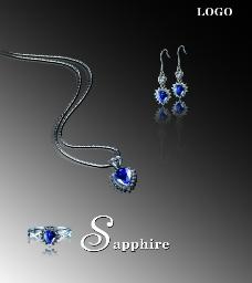 蓝色宝石首饰图片