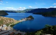 泸沽湖里格半岛全景图片