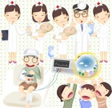 可爱 卡通 医生 护士 病人图片