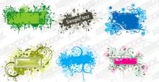 6款装饰框与花纹矢量素材
