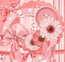 花朵缎带蝴蝶结(粉橙)图片