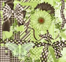 花朵缎带蝴蝶结(棕绿)图片