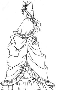 古代女性服装线稿图片