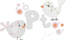 t恤卡通画图案小鸟与花图片
