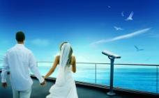 情侣海景创意图片