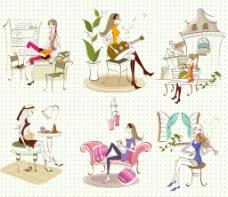 线条风格时尚女孩插画图片