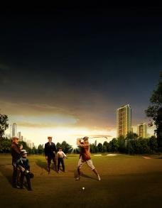 品位的人在小区打高尔夫图片